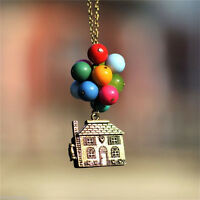 House with Balloons Up Movie Chain Pendant Necklace Antique Anniversary Gift nWD