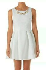 <.Zibi London Cream Floral Emboss Necklace Dress Size UK 16 Price Marked £55