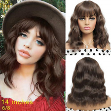 Short Curly Wavy Bob Wig with Bangs 14 inch Natural Brown Wig for Women Velma