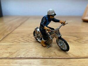 Vintage BRITAINS 'SPEEDWAY' Racer & MOTORCYCLE/BIKE. Blue Rider 1:32