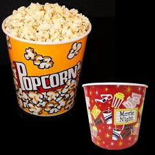 """Retro Style Reusable Popcorn Bowl Plastic Container Movie Theater Bucket 8"""" Tall"""