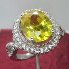10x12mm Oval Cut Solid 14kt White Gold Natural Citrine Natural Diamond Ring
