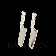 w Swarovski Crystal ~Knife Cooking Utensil Cook Chef Wife Culinary Food Earrings