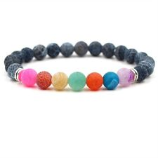 8mm Natural Lava Stone Serpentine Beads Woman 7 Chakras Yoga Beaded Bracelets