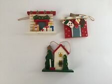 Vintage Wooden Christmas Ornament Lot Of 3 Fireplace Stockings Outdoor Scene