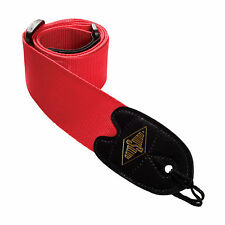 Rotosound Guitar Strap Adjustable High Quality Webbing With Leather Ends Red