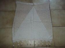 Linge ancien rideau au crochet en coton beige