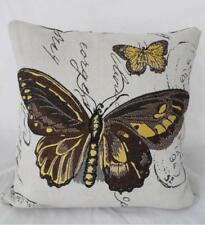 Brown & Yellow  Butterfly Quality Tapestry Look Cushion Cover