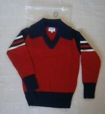 Vintage Boys Sweater - Age 12 Approx - Red/Navy Collar - Striped Sleeves- New