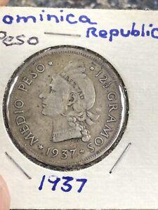 1937 DOMINICAN REPUBLIC SILVER 1/2 PESO NICE COIN