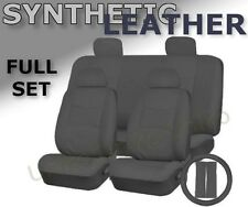 SOLID GRAY PU Low Back Synthetic Leather Seat Covers Steering Wheel Set Grey CS1