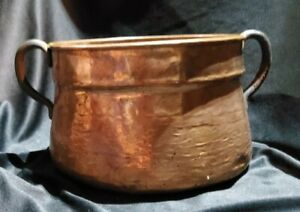 Vintage Hammered Copper Planter/Bucket With Handle