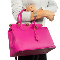 Vittoria Pacini Italian fuchsia calf leather satchel handbag ;NEWLY ARRIVED