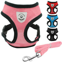 Dog Harness Lead Leash Adjustable Mesh Padded Fabric Pet Vest for Puppy Cats