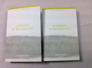 2 (TWO) HERMES PARFUMS LE JARDIN DE MONSIEUR LI 2ML EAU DE TOILLETTE SAMPLE SIZE