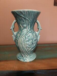 Vintage McCoy Peacock Green Flower Vase Antique