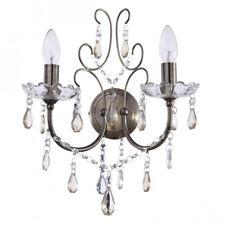 Antique Brass 2 Light Chandelier Wall Light Hanging Crystal Pendants Litecraft