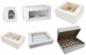 White Cupcake Boxes Holds 1, 2, 4, 6, 12 & 24 Cup Cakes Removable Inserts