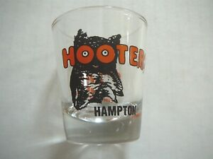 HOOTERS Vintage ORANGE & BROWN LABEL SHOT GLASS - HAMPTON - TACKY & UNREFINED EX