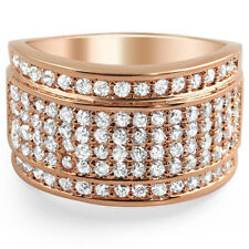 14k Rose Gold Finish Iced Out Baller Style Mens Ring