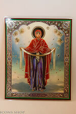 Intercession of the Theotokos Icon Wood Base 10x12cm Покрова Пресвят Богородицы