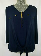 Ellen Tracy Blouse Top 3/4 Sleeves Gold Zipper Navy Size M  NWT