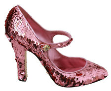 DOLCE & GABBANA Shoes Heels Pink Sequined Crystal Mary Jane EU39/ US8.5 RRP $980