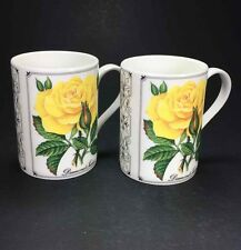 Set of 2 QUEENS Fine Bone China Mugs Classic Roses Floral