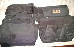 Electricians Tool Belt Contractor Bag Pouch Storage Black Nylon Klein Tools