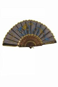 9'' Chinese Fan Held Hand Embroidered Japanese Nylon Made Oriental Carved Gift