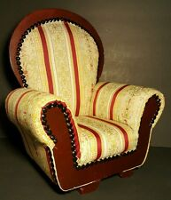 Victorian Upholstered Wood Frame Doll Arm Chair Stripped Pattern Fabric 14x12