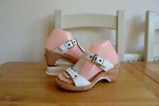 """GABOR COMFORT """"FRAGRANCE"""" WHITE LEATHER/LEATHER LINED WEDGE BUCKLE SANDALS UK 4G"""