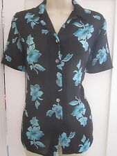 Ladies size 8 Country Casuals black teal floral semi sheer smart summer blouse