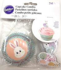 Wilton Sweet Splatters Bunny Cupcake Kit 24 Ct Baking Cups Picks