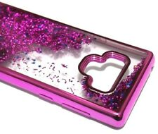For Samsung Galaxy Note 9 - Hot Pink Chrome Glitter Stars Liquid Skin Case Cover