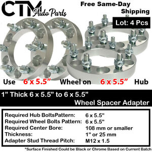 "4P 1"" THICK 6X5.5 to 6x5.5 108mm C.B WHEEL ADAPTER SPACER FIT M12X1.5 STUD MODEL"