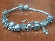 "PANDORA 8"" SILVER BRACELET WITH 14 STERLING SILVER CHARMS GOOD CONDITION"