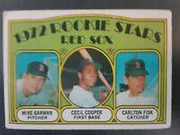 1972 Topps #79 Carlton Fisk / Cecil Cooper / Mike Garman Rookie Card Red Sox