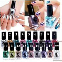 17 Colors Mirror Metallic Effect Nail Polish Base Lacquer Gel Polish Nail Art