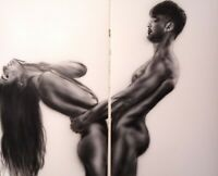 Male and Female Nude 2x(44x70)cm Erotic Naked Man Drawing/Painting