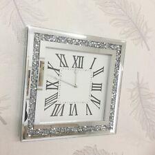 LOOSE DIAMANTE MIRRORED WALL CLOCK CRUSHED JEWEL ROMAN NUMBER GLASS CLOCK 35CM