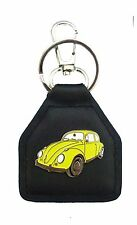 Yellow Early Model Volkswagon Beetle, Quality Leather Keyring