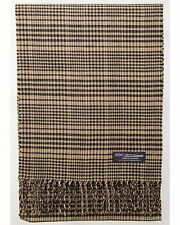 100% Cashmere Scarf Brown Black Tartan Check Plaid SCOTLAND Wool Women R50 Wrap