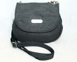 BAGGALLINI Mini Crossbody Belt Bag Magnetic Flap Double Zip Gray Nylon