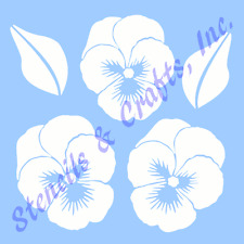 """PANSY STENCIL PANSIES FLOWER FLOWERS LEAF TEMPLATES TEMPLATE CRAFT NEW 6"""" X 7.5"""""""