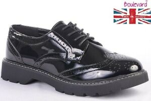 LADIES Girls School Smart Black Patent Brogue Lace Up Shoes Size 3 4 5 6 7 8 UK
