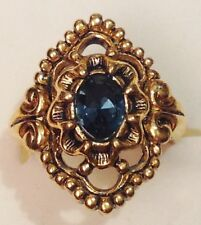 bague bijoux couleur or rhodié fiançailles pierre taillé couleur saphir T.52