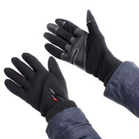 Black Simulated Leather Windproof Walking Hiking Outdoor Gloves