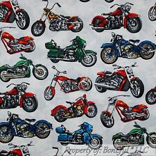 BonEful Fabric FQ Cotton Quilt White Blue Red Chopper Motorcycle American L Bike