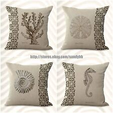 US Seller-4pcs patio cushions covers marine life cushion cover seahorse coral